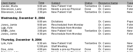 This week's appointment schedule